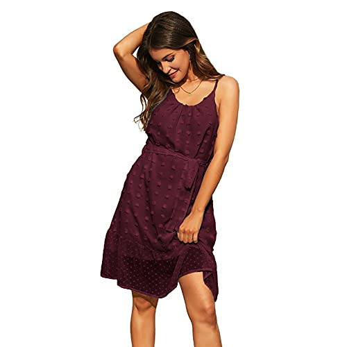 GRACE KARIN CLX018S21 - Vestido de verano para mujer con tiras finas borgoña L
