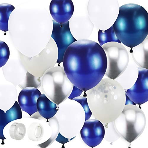 BigNc 132 Pieces Blue Balloons Garland Kit, White Blue Silver and Blue Confetti Latex Balloons Arch for Party Wedding Birthday Decoration