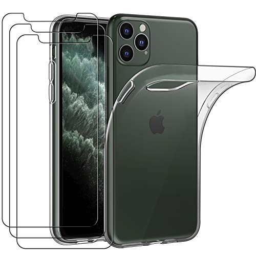 iVoler Custodia Cover per iPhone 11 PRO 5.8 Pollici 2019 + 3 Pezzi Pellicola Vetro Temperato, Ultra Sottile Morbido TPU Trasparente Silicone Antiurto Protettiva Case per iPhone 11 PRO