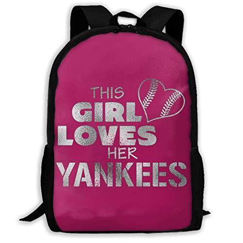 """BUGKHD Leichter Rucksack mit Aufdruck """"This Girl Loves Her Yankees"""", wasserabweisend, für Reisen, Laptop, 43,2 cm (17 Zoll)"""
