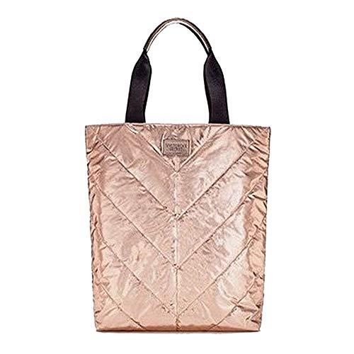 Victoria's Secret Beige Canvas Rose Gold Tote Bag SPRING 2017 Limited Edition