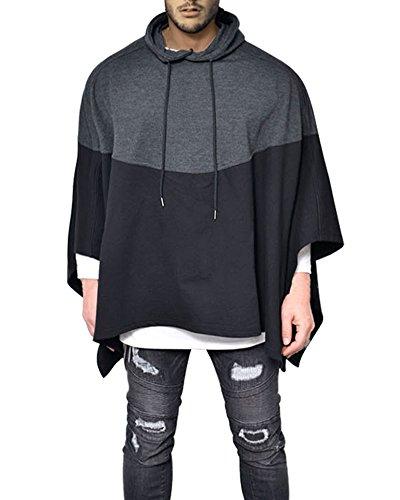 Demetory Men's Color Block Oversized Batwing Sleeves Hooded Poncho Cape Black Medium