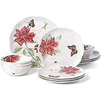 Lenox Butterfly Meadow Christmas Poinsettia 12-Piece Dinnerware Set