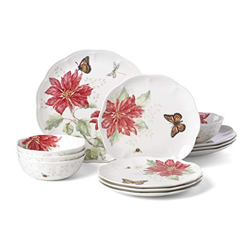 Lenox Butterfly Meadow Christmas Poinsettia 12 Piece Dinnerware Set