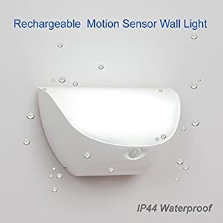 ZEEFO Night Lights Bright Waterproof IP44 Motion Sensor LED Wall Night Light with Rechargeable Lithium battery powered Lamp for kids, Entrance Garden kitchen Hallway Bathroom Wall Light Stick-Anywhere