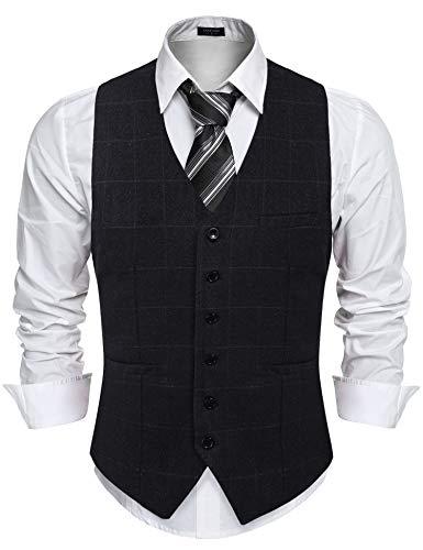 COOFANDY Herren Anzugweste Weste V-Ausschnitt Ärmellose Westen Slim Fit Anzug Business Hochzeit Smoking Sakko Weste Elegant
