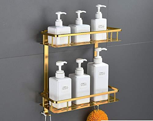 WANYD Duschkörbe ohne Bohren Badregal Wandhalterung, doppelt Gold