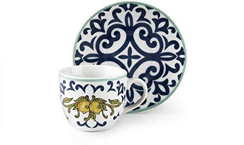 Excelsa Amalfi Set 6 Tazzine caffè con Piattino, Porcellana