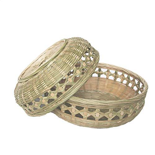 Yanxinenjoy Bambus-Kehrschaufel, runder Bambus-Staubtuch, landwirtschaftliche Bambusprodukte, Aufbewahrungskorb, perforierter Obstkorb-Klein 22 × 5