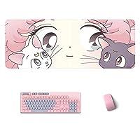 マウスパッド ピンクアニメセーラームーンラージゲーミングマウスパッドゲーマーかわいいキーボードマウスパッドカワイイPCデスクマットWaterproodfor Computer Laptop Gamer 1000X500Mm