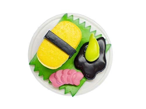 Miniblings Sushiteller Brosche Japan Sushiplatte Sushi Wasabi Maki Teller weiß - Handmade Modeschmuck I Anstecknadel Button Pins