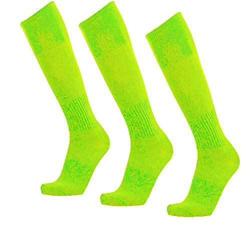 Unisex Athletic Knee High Breathable Compression Solid Tube Soccer Football Sport Socks 3/12 Pairs, Neon Green-unisex 3 Pairs, Large