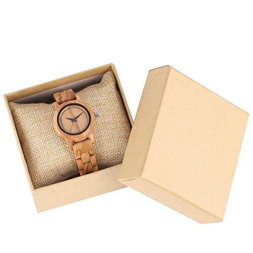 LYMUP Reloj de madera minimalista para mujer, correa de madera de bambú, exquisitos relojes de cuarzo ultraligeros para mujer, relojes de cuarzo (color : reloj con caja)