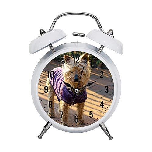 PGTASK kindwekker retro stijl wijzers klokken wekker sterk nachtkastje licht huis decoraties Australian Terrier draagt paars vest