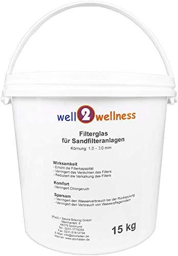 well2wellness Pool Filterglas Körnung 1,0-3,0 mm - Hochwertiges Pool Filtermedium für Filteranlagen im 15 kg Eimer