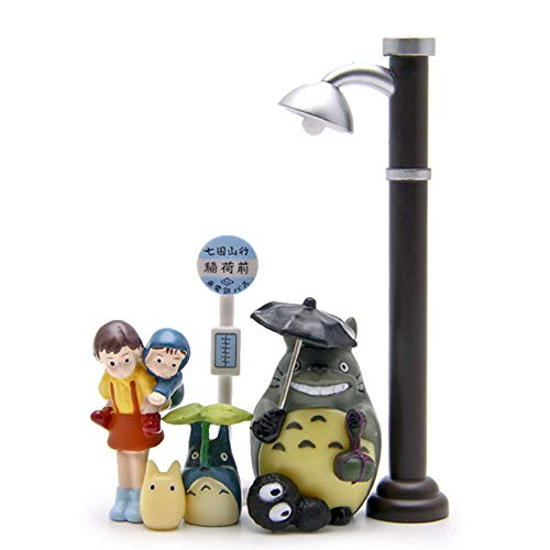 7 Pack Cute Totoro Figurines, Miniature Home Fairy Garden Figurines - Micro Landscape Ornament Decorations – Rainy Bus Station Scene for Crafts and Home Decor