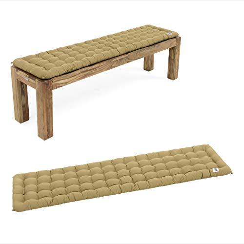 HAVE A SEAT Luxury - Bankauflage für Sitzbank, bequemes Bank Sitzpolster, waschbar bei 95°C, Pflegeleichte Sitzauflage, Made in Germany (160x40 cm, Beige)