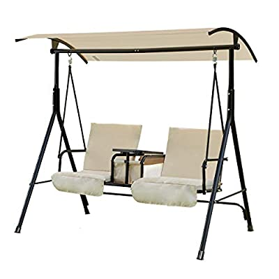 U-MAX 2 Person Porch Outdoor Patio Porch Swing with Adjustable Tilt Canopy, Table and Storage Console, Beige