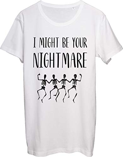 Camiseta para hombre con texto 'I Might Be Your Nightmare Four Skeletons Dancing
