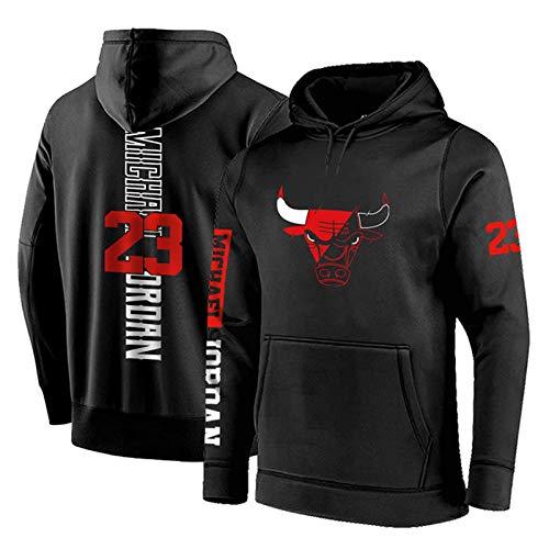 XGMJ Sudadera con capucha para hombre, diseño de Chicago Bulls #23 Michael Jordan Baloncesto con capucha suelta, manga larga para hombre otoño Jersey con cuello alto, color negro