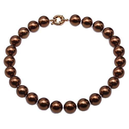 JYX Perlenkette 16 mm Echte Bronze Südseeperle Runde Perlen Halskette 45 cm