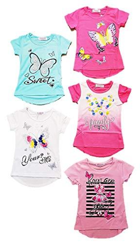 5er Pack Mädchen T Shirts Größe 86-158 mit schönen Designs (122-128, Numeric_122)