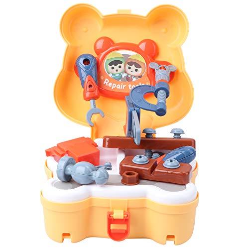 Toddmomy Kinder Werkzeug Spielzeug Set Spielwerkzeug mit Hund Form Koffer Bauspielzeug Handwerker Rollenspiele für Kinder Jungen Pädagogisch Geschenke