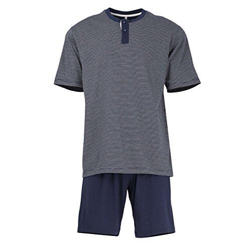 TOM TAILOR Underwear Herren Shorty, 2-Knopfv. Zweiteiliger Schlafanzug, Blau (Blue-Dark-horizontal Stripe 632), Large (Herstellergröße:52/L)