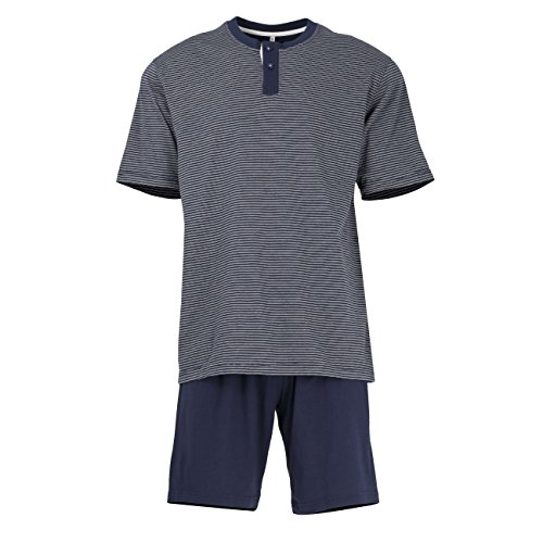 TOM TAILOR Herren Shorty, Kurzarm, Baumwolle, Jersey, blau, gestreift 48