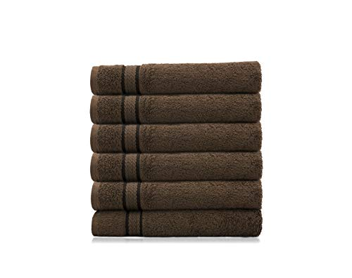 COTTON CRAFT Ultra Soft Luxury Set of 6 Ringspun Cotton Hand Towels, 580GSM, Heavyweight, 16 inch x 26 inch, Chocolate Brown