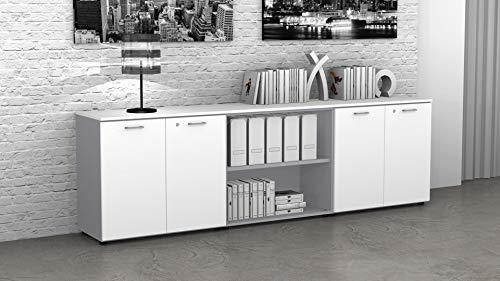 Fumu Mobile Ufficio Basso libreria 4 Ante Legno con Serratura e Giorno CUAA02 (Bianco/A BIA0042, 35)