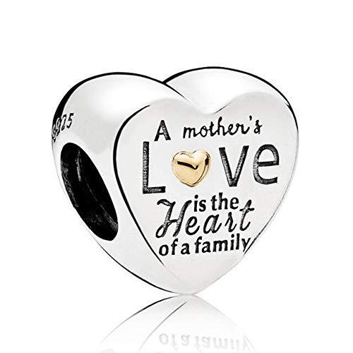 pandora 925 colgante de plata esterlina DIY Qandocci corazón candado y copo de nieve clave dos tonos familia firma corazón encanto ajuste pulsera joyería