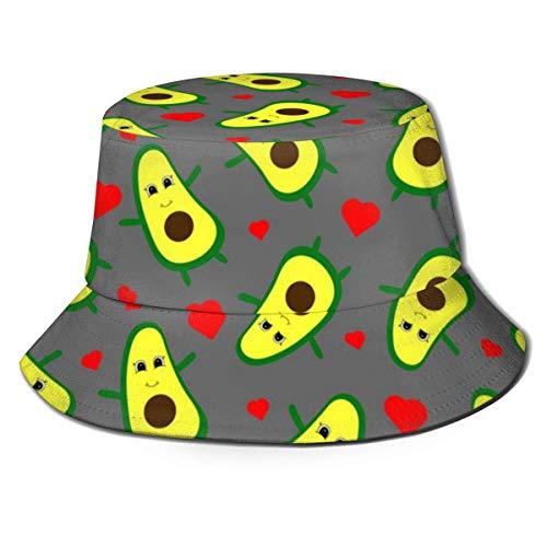 Lawenp Sombrero de Pescador 3D Kawaii Aguacate y Corazones Sombrero de Cubo Plegable Sombrero de Verano para Hombres Mujeres