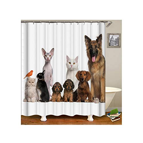 Anwaz Duschvorhang Waschbar aus Polyester Katzen H& Vogel Hase Muster Design Badewanne Vorhang Badewannenvorhang Grau mit 12 Duschvorhangringen für Badewanne - 165x180CM