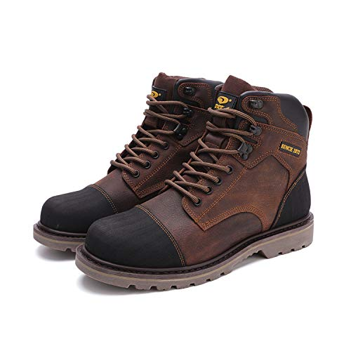 DRKA Men's Genuine Leather Chukka Boots Stylish Mid Top Motorcycle Hiking Boots(20976-brn-44)