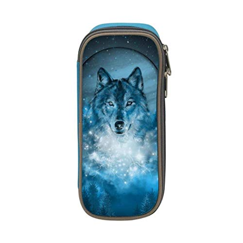 XCNGG Borsa per cancelleria, astuccio portapenne Pencil case,Large Capacity Wolf Moon Student Pencil Box Stationery Bag, Multifunctional Zipper Storage Bag for Students and Adults, School and Office B