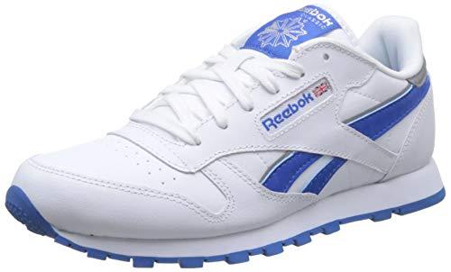 Reebok CL Leather Reflect, Zapatillas de Running Hombre, Blanco/Azul/Plateado (White/Blue Sport/Silver Met), 39 2/3 EU