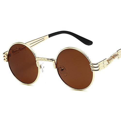 Gafas de sol europeas y americanas Gafas de sol con montura redonda retro para hombres con montura dorada de metal, película azul