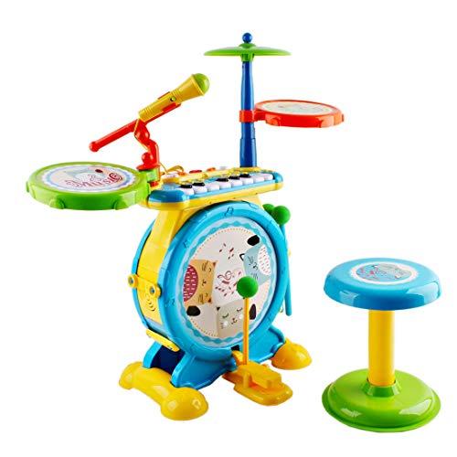 deAO Set Rock And Roll Giocattolo Strumenti Musicali Elettronici per Bambini Include Kit Batteria, Tastiera del Pianoforte, Microfono e Sgabello Giocattolo per Ragazzi e Ragazze