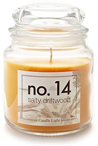 HEITMANN DECO Candle Light No.14 - Deko Duftkerze im Glas mit Deckel - großes Windlicht - Duft: Salty Driftwood (Salz/Holz Duft)