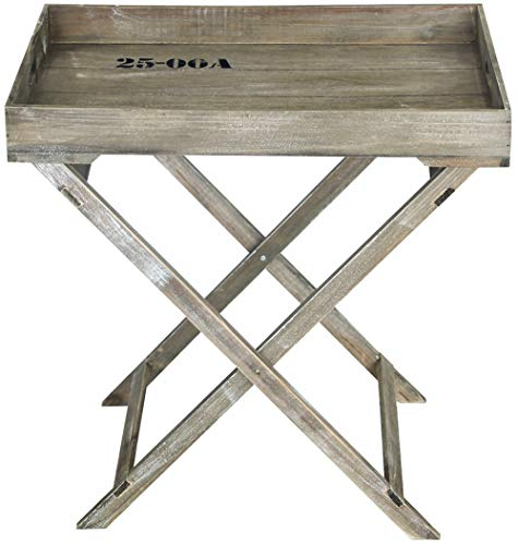 Vixdonos Wood Folding Tray Table with Removable Food Serving Tray for Kitchen237quot L x 158quot W x 24quot HRustic Gray