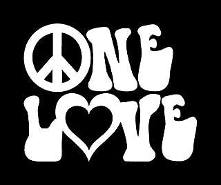 Makarios LLC One Love Peace Zeichen Hippie MKR Aufkleber, Vinyl Aufkleber, Auto, LKW, Vans, Wände, Laptop, weiß, 14 x 11,4 cm, MKR1409