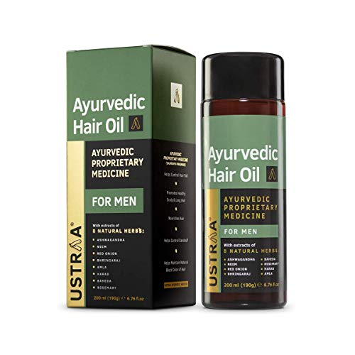Ustraa Ayurvedic Hair Oil 200ml - with 8 Natural Herb extracts, Controls hair fall, Fights Dandruff, Ayurvedic Nourishment for...