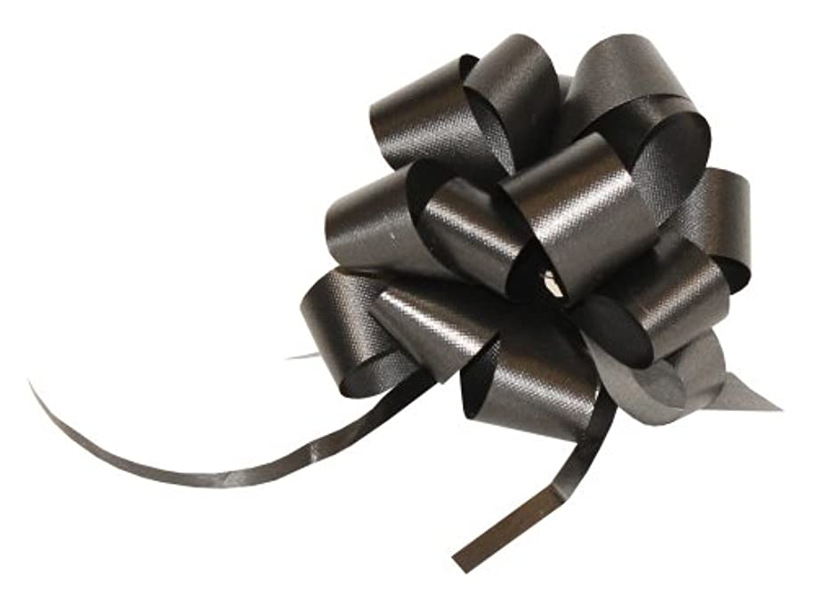 Premier Packaging AMZ-PF526 25 Count Flora Satin Pull Bow, 4 by 18-Inch Loop, Black