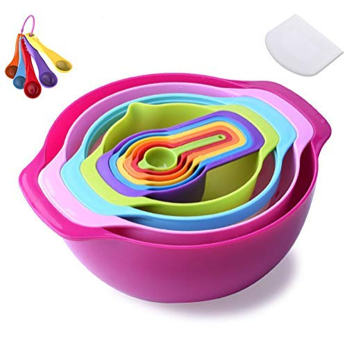 SeYoPoll 16 Piece Mixing Bowl - 4500ML Dishwasher/Microwave Safe Plastic Mixing Bowl Set for Kitchen,Mixing Bowls for Baking with Measuring Cups Sieve Colander Strainer Bowl