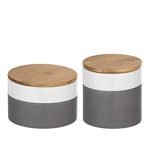WENKO 2-er-Set Keramik Vorratsdosen mit luftdichtem Bambusdeckel, Aufbewahrungsbehälter für die Küche 0,45L / 0,75L