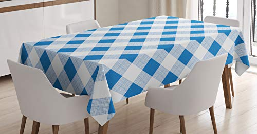 ABAKUHAUS Blauw en wit Tafelkleed, Geblokte Plaid Grid, Eetkamer Keuken Rechthoekige tafelkleed, 140 x 200 cm, Azure Blue White