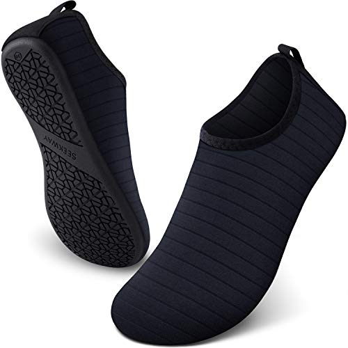 SEEKWAY Womens and Mens Water Shoes Quick-Dry Aqua Socks Barefoot for Outdoor Beach Swim Sports Yoga Snorkeling SK001 701 Stripe Black 9.5-10.5 Women/8.5-9.5 Men