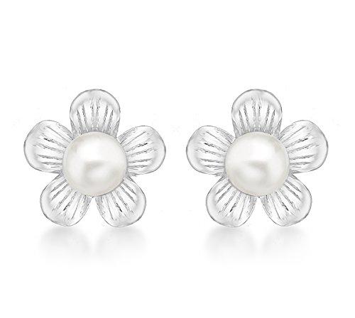 Tuscany Silver - Pendientes de plata con perla