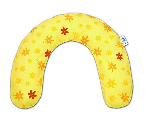 Theraline 10014102 Frühchenkissen U-Form inklusive Bezug, klein 100 x 12 cm, blümchen gelb
